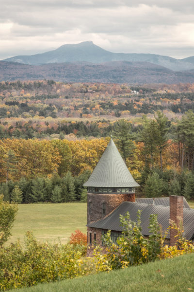 The North Tower of the Farm Barn, Shelburne Farms, Vermont, with Camelshump Mountain in the distance.